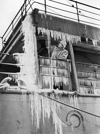Ice which formed on HMS COCHRANE during an Arctic patrol, November 1940.