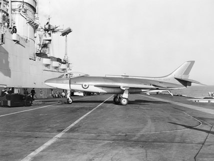 The pre-production Supermarine 544 (later to be the Scimitar) aboard HMS ARK ROYAL during deck trials, 6 January 1957.