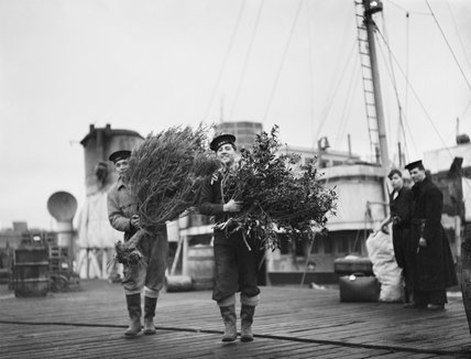 Two sailors carrying the Christmas tree and holly for Christmas festivities with the destroyer flotilla at Gladstone Dock, Liverpool, December 1941.