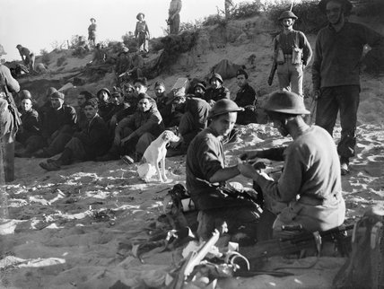 British wounded being treated, and Italian prisoners waiting to be evacuated from the beach on the first day of the invasion of Sicily, 10 July 1943.