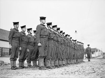 Men of the Royal Navy's Coast Watch parade at a naval training establishment in Devon, 1940.