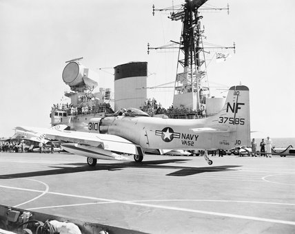 A US Navy Douglas Skyraider aboard HMS VICTORIOUS during an exercise in the South China Sea, November 1961.
