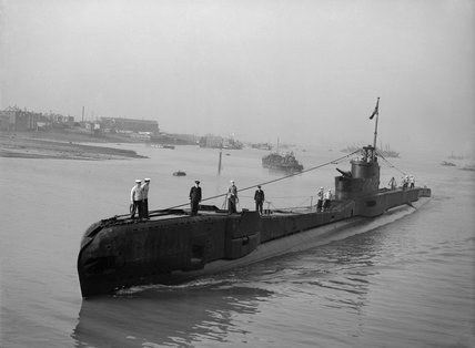 HM Submarine TAKU returns home after a year's successful service in the Mediterranean,  3 August 1943.