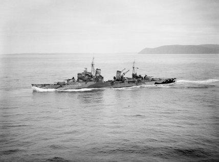 HMS SHEFFIELD underway near Scapa Flow, 28 October 1941.