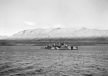 HMS JAMAICA at Hvalfjord in Iceland, October 1943.