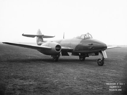 Gloster Meteor F Mk I of the Aeroplane and Armament Experimental Establishment at Boscombe Down, March 1945.