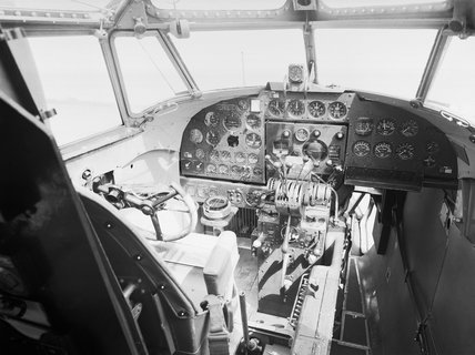 Cockpit of a Lockheed Hudson Mk III at Eastleigh, Hampshire, 24 July 1942.
