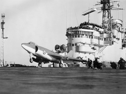 The pre-production Supermarine 544 (later to be the Scimitar) about to be catapulted from HMS ARK ROYAL during deck trials, 6 January 1957.