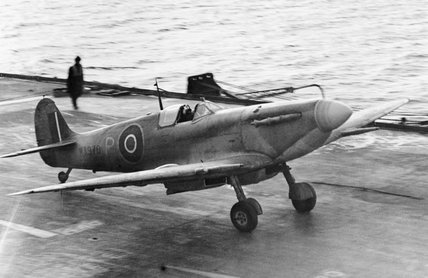 A Supermarine Seafire landing on board HMS ILLUSTRIOUS, February 1943.
