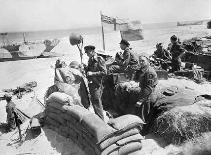 The Royal Navy Beachmaster's HQ on the beach near Courseulles, Normandy, 13 June 1944.