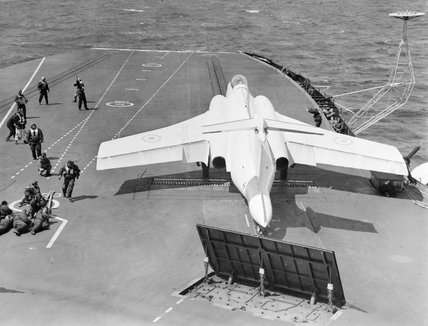 A Blackburn Buccaneer during landing trials on HMS HERMES, May 1962.