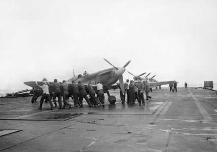 Supermarine Seafires aboard HMS ARGUS off Lamlash, Scotland, August 1943.