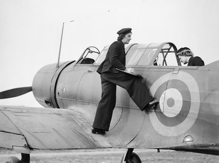 Two members of the Women's Royal Naval Service checking the cockpit equipment in a Vought-Sikorsky Chesapeake aircraft at Royal Naval Air Station Stretton in Lancashire, 4 March 1943.