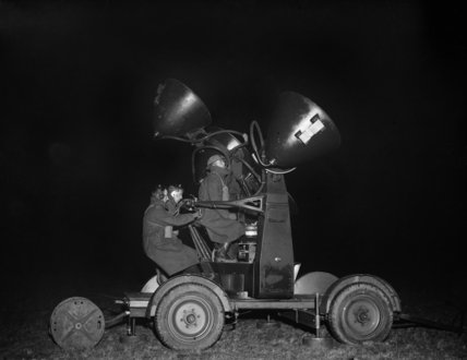 A Mobile Sound Locator of the 1st Anti-Aircraft Division, Territorial Army Mobile Display Group, in operation during the late 1930s.