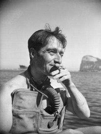 Lieutenant Lionel 'Buster' Crabbe, in diving apparatus at Gibraltar, April 1944.