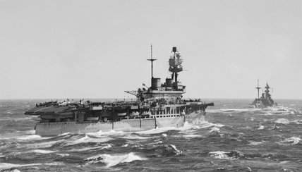 HMS EAGLE and HMS MALAYA in the Mediterranean during Operation 'Spotter', which delivered  16  RAF Spitfire Mk Vs to Malta on 7th March 1942.