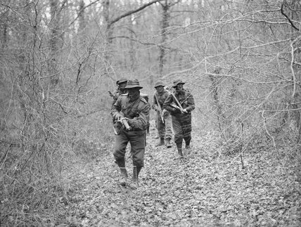 Trainees learn jungle tactics for the Pacific War at the Royal Marines Eastern Warfare School at Brockenhurst, Hampshire, 2 February 1945.