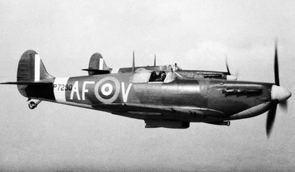 Supermarine Spitfire Mk IIa aircraft of the Air Fighting Development Unit based at Duxford, 6 April 1942.
