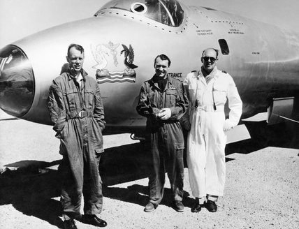 RAF officers who flew in a Canberra jet through an atomic mushroom cloud six and a half minutes after the explosion of an atomic weapon at the Woomera Range, Australia, 1955.