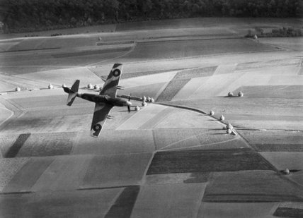 A North American Mustang Mk I of No. 35 (PR) Wing banks over the French countryside during a tactical reconnaissance sortie, 2 November 1943.