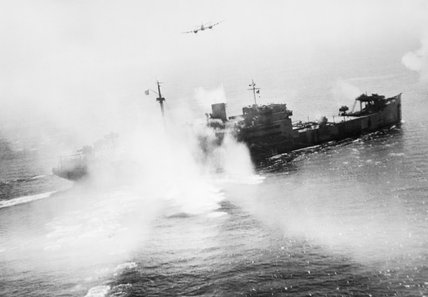 The German mine-detecting ship SAUERLAND being attacked off La Pallice in France by RAF Bristol Beaufighters, 12 August 1944. The ship was later finished off by the Royal Navy.