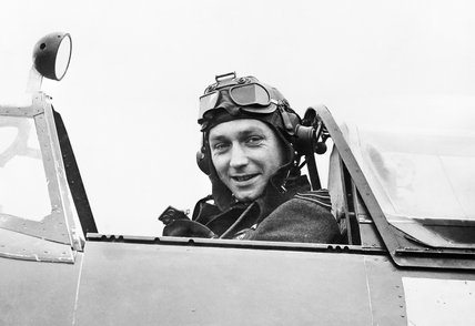 Wing Commander Raymond Harries, commanding the Tangmere Wing, in the cockpit of his Spitfire Mk XII, 1943.