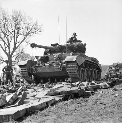 Comet tanks of the 2nd Fife and Forfar Yeomanry, 11th Armoured Division, crossing the Weser at Petershagen, Germany, 7 April 1945.