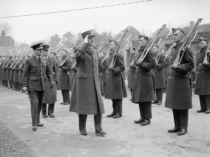 General Charles de Gaulle inspects RAF personnel, March 1942.