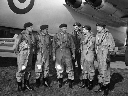 Vickers Valiant bomber crews of No. 49 Squadron RAF about to leave RAF Wittering for Christmas Island in the Pacific to take part in Britain's nuclear tests, March 1957.