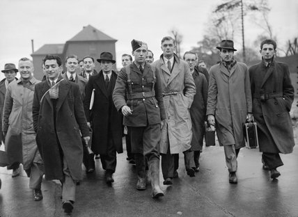 Potential recruits arrive at the Royal Air Force Depot at Uxbridge for examination by a selection board, November 1940.