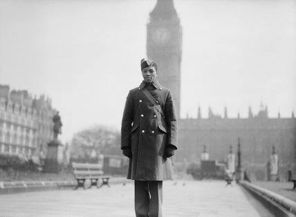 RAF student pilot Jellicoe Scoon, a West Indian from Trinidad, in Parliament Square in London, 26 March 1942.