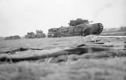 A column of Churchill tanks and other vehicles at the start of Operation 'Veritable', NW Europe, 8 February 1945.