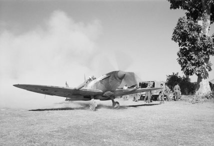 A Supermarine Spitfire Mk VIII of No. 155 Squadron about to take off from Tabingaung, Burma, January 1945.