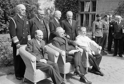 Britain's new Prime Minister, Clement Attlee, with President Truman and Marshal Stalin at the Potsdam Conference in Berlin, 1 August 1945.