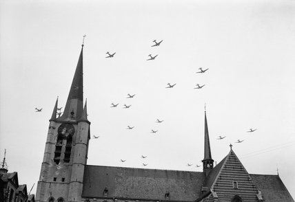 American C-47 aircraft flying over Gheel in Belgium on their way to Holland for Operation 'Market-Garden' , 17 September 1944.