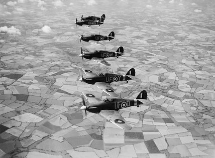 Hurricane Mk IIBs of 'B' Flight, No. 601 Squadron, based at Duxford, 21 August 1941.