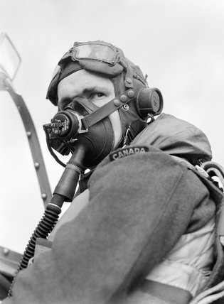 Flight Sergeant Georges Nadon, a French-Canadian pilot with No. 122 Squadron, in his Spitfire at Hornchurch, May 1942.