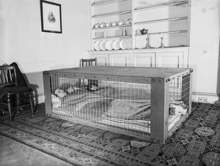 A couple sleeping in a Morrison shelter during the Second World War.