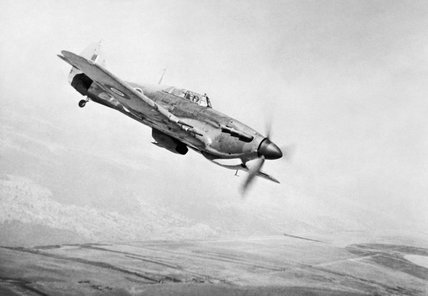 Hawker Hurricane Mk IIC of No. 166 Wing in flight from Chittagong in India, May 1943.
