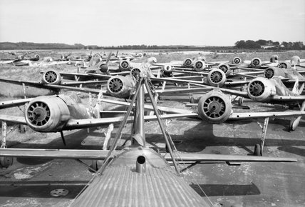 Focke Wulf Fw 190 fighters awaiting disposal at Flensburg airfield in Germany, 2 August 1945.
