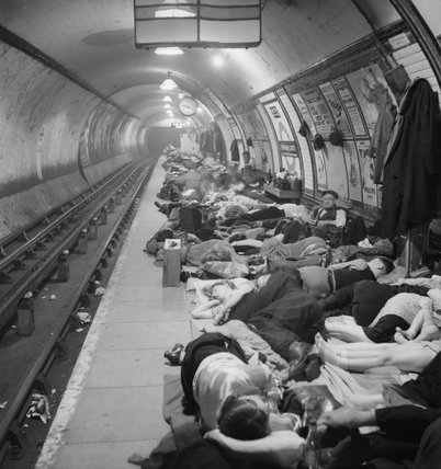 Civilians sheltering in Elephant and Castle London Underground Station during an air raid in November 1940.