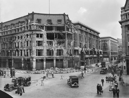 The damaged Peter Robinson department store at Oxford Circus, following a German air raid on London, September 1940.