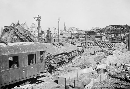 A scene of devastation in the railway yards at Munster, after the city's capture by British troops on 7 April 1945.