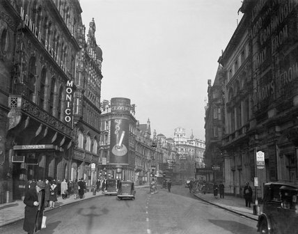 A general view looking down Shaftesbury Avenue towards the Lyric and Apollo Theatres in 1940.