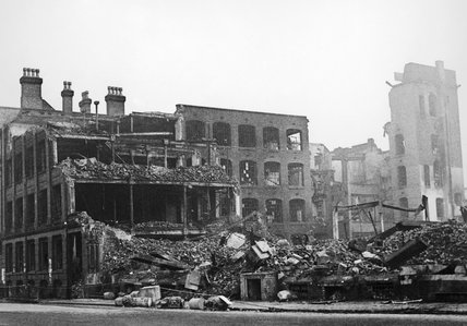 Air raid damage in Birmingham, 1940.