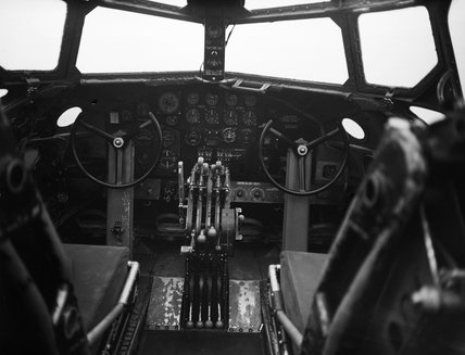 The pilots' instrument panel and flight controls of a Short Stirling Mk I of No. 7 Squadron RAF at Oakington, Cambridgeshire, February 1942.