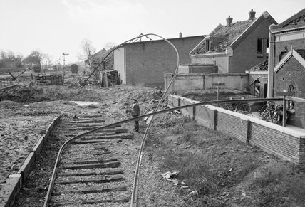 Allied bomb damage to railway sidings at Middleburg station in Holland, November 1944.