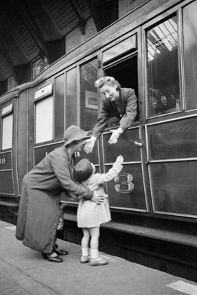 Vera Elliott says good bye to her daughter Heather as she sets off from Sunderland railway station to begin her war work in May 1941.