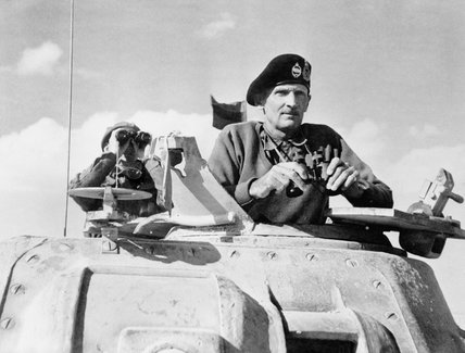 Lieutenant General Bernard Montgomery, commanding the British Eighth Army in North Africa, in the turret of his Grant command tank at El Alamein, 5 November 1942.