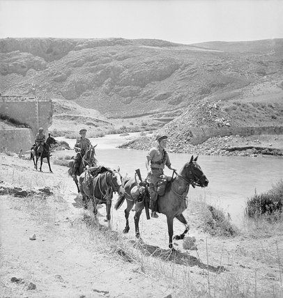 The Cheshire Yeomanry patrolling on horseback at Marjuyan in Syria, 16 June 1941.